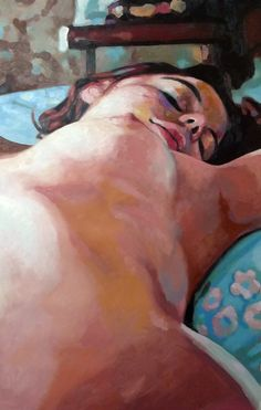 Thomas Saliot. Blue bed.  Oil on canvas -- I wish I'd posed nude when I was young... I wish I'd been more daring in general.