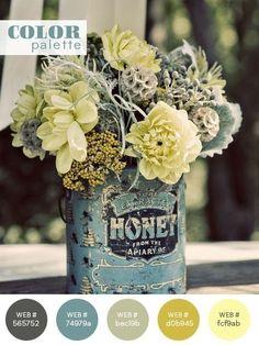 simple floral arrangement in vintage tins Colour Schemes, Color Combos, Room Photo, Deco Floral, Vintage Tins, Upcycled Vintage, Vintage Theme, Color Pallets, Color Inspiration