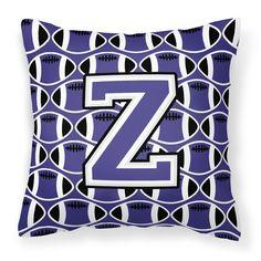 Letter Z Football Purple and White Fabric Decorative Pillow CJ1068-ZPW1414