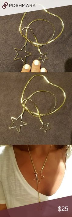 Double gold star necklace lariat Amazing necklace one large one small star  loop them, gorgeous piece. Just released, purchased Sept. 2017 in a Brazilian wholesale jewelry designer district ...only 1 available. 24k Gold dipped Jewelry Necklaces