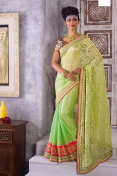 Buy Green Satin Party Wear Saree Online in low price at Variation. Huge collection of Party Wear Sarees for Party, Festivals, Engagements and Ceremonies. #party #partywearsarees #sarees #onlineshopping #latest #lowprice #variation. To see more - https://www.variationfashion.com/collections/party-wear-sarees