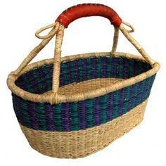 Short Oval Basket with Leather Handles                                                                                                                                                     More