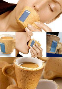 Curiosas Tazas de café comestible de Lavazza: Cookie Cup