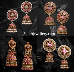 22 carat gold antique jhumkas adorned with rubies, emeralds, polkis and pearls by JCS Jewel Creations. Gold Jhumka Earrings, Jewelry Design Earrings, Gold Earrings Designs, Gold Jewellery Design, Ruby Earrings, Antique Earrings, Gold Temple Jewellery, Real Gold Jewelry, Gold Jewelry Simple