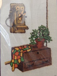 Vintage Needlepoint Kit Phone Cedar Chest Old Fashioned Wall Telephone C Blyler