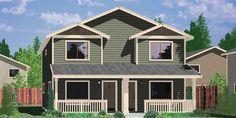 House front color elevation view for D-549 Duplex house plans, two story duplex house plans, affordable duplex house plans, D-549