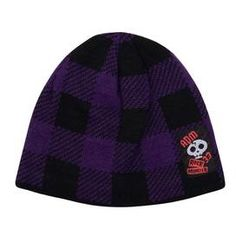 Skull patch check beanie hat in purple & black (2-12 years) £3.99
