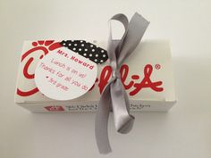 "Chick-fil-a teacher appreciation gift.   Chick-fil-a gift card inside the box.   Gift tag ""lunch is on us"""