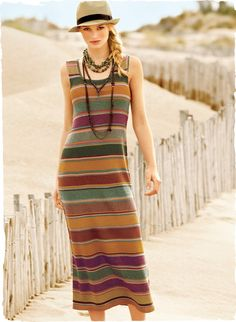 Effortlessly beautiful and comfortably easy, Kaffe Fassett's 48'' art knit dress is striped in tweeded, sun-drenched hues of pima.