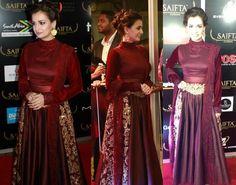 Dia Mirza in Manish Malhotra's Delhi Couture Week Collection at SAIFTA Award - http://www.celebrityfashion.in/diya-mirza-in-manish-malhotra-saifta-awards/