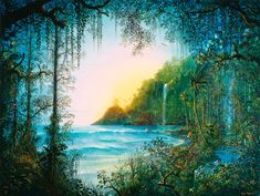 """""""Island of Hidden Animals"""".  John Mason is not only a brilliant artist, but also a musician, and a computer animator as well. John thinks of his images as """"painting from the mind's eye"""". His images create visionary landscapes that """"glow"""" with life, and John seems fascinated with ancient civilizations and the innate beauty of pristine nature."""