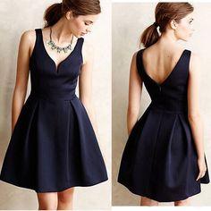 Navy Blue Sexy Backless Mini Dress