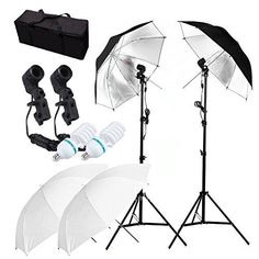 CanadianStudio 2-Head translucent & black/silver umbrella lighting continuous video portrait make up lighting kit - FREE shipping on orders over $100