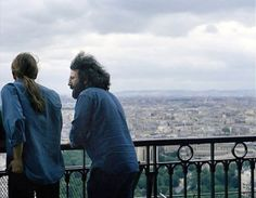 """Jerry Garcia and Bob Weir of The Grateful Dead, atop the Eiffel Tower, June 1971. """"Goodbye, goodbye I don't want to see anybody cry..."""""""