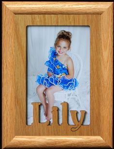 5x7 Lily  Portrait Laser Cut Oak PHOTO NAME FRAME  Holds a 4x6 or 5x7 Picture >>> This is an Amazon Affiliate link. Want to know more, click on the image.