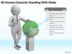 3D Human Character Standing with Globe Ppt Graphics Icons Powerpoint #Powerpoint #Templates #Infographics