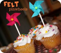 DIY Felt Pinwheels with free printable template! The look adorable as cupcake toppers or you can string several onto clear line and hang as garland! #pinwheeldecorations
