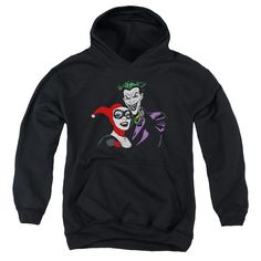 BATMAN/JOKER & HARLEY-YOUTH PULL-OVER HOODIE-BLACK