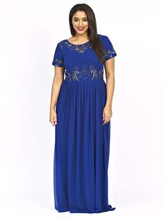 d7c258c220e Lovedrobe Luxe Womens Plus Size Short Sleeve Floral Embellished Maxi Dress  Blue Plus Size Maxi Dresses