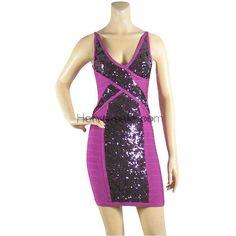Herve Leger Purple Sequins V-neck Bandage Dress HL567P