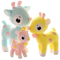 LightningStore Cute Colorful Blue Pink Yellow Sweet Eye Deers Doll Realistic Looking Stuffed Animal Plush Toys Plushie Children's Gifts Animals, http://www.amazon.com/dp/B01C4R4KYI/ref=cm_sw_r_pi_s_awdm_czvBxbN6KBQA4