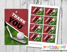 Golf Thank You Tags  Instant Download by Print4Yourself on Etsy