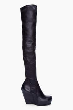 Rick Owens Black Over The Knee Wedge Boots