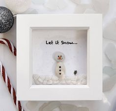 Christmas Pebble Art Christmas Decor Pebble Snowman Snowman