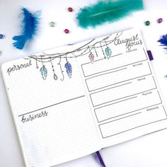 All set up in my bullet journal for August! I am in love with the theme I chose! I decided to go with a 'Boho Feathers' theme for this month, which I think turned out super cute! Bullet Journal Workout, Bullet Journal August, Bullet Journal Set Up, Bullet Journal Printables, Bullet Journal Layout, Bullet Journals, Journal Template, Bujo, Bullet Journal Decoration