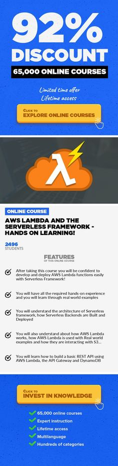 AWS Lambda and the Serverless Framework - Hands On Learning! Development Tools, Development #onlinecourses #onlinemastersschools #onlinedegreecollegesDevelop and Deploy AWS Lambda Functions with Serverless, Learn Lambda Real World Integrations with Amazon Web Services AWSLambda and the Serverless Frameworkis the best way to get started in the serverless world, to deploy AWS Lambda functions ...