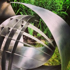 Stainless Steel #sculpture by #sculptor Jane Clarke titled: 'Symbiosis I (stainless Steel abstract garden sculpture)'. #JaneClarke