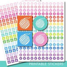 Knitting stickers, Knitting planner stickers, Knitting printable stickers, Yarn stickers, Knit stickers, Yarn ball stickers, STI-299