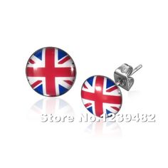 Wholesale 100pcs/lot stainless steel British flag ear stud earrrings body jewelry 10mm disc 1.2mm bar SE0056