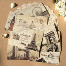 9 unids/lote Vintage Retro Europa Edificio Postal Paris Londres Eiffl Torre Tarjeta Postal de Felicitación de Vacaciones Envío gratis 806(China (Mainland))