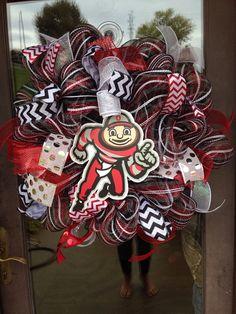 Ohio state buckeyes Brutus deco mesh wreath