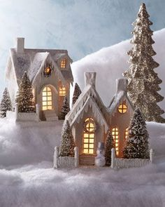 Ivory Glitter Cottages by Bethany Lowe at Horchow. paint and glitter paper mache houses and put a led candle in Christmas Paper, Christmas Projects, All Things Christmas, Christmas Home, Vintage Christmas, Christmas Holidays, Christmas Decorations, Christmas Glitter, Xmas