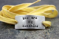 Custom Silk Wrap Bracelet  you are my sunshine  by BobbieJoDesigns, $29.99