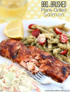 BBQ-BRUSHED PLANK GRILLED SALMON #grilling #salmon #bbq #KCMasterpiece