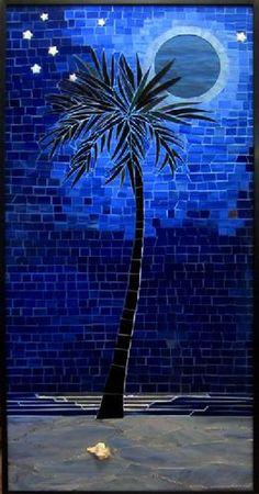 mosaic,moon,blue,beach,sand,palm,tree,night,stained glass,stars,moonlight