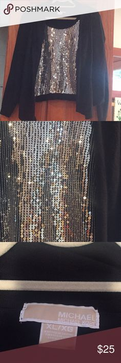 M K Beautiful Sequin attached tank /sweater Michael Kors  Attached Sweater over silver sequined tank top gently worn KORS Michael Kors Tops