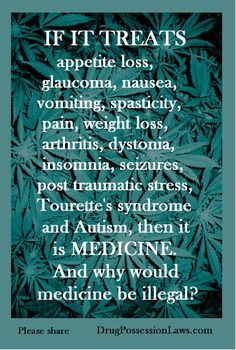 If it treats appetite loss, glaucoma, nausea, vomiting, spasticity, pain, weight loss, arthritis, dystomia, insomnia, seizures, post traumatic stress, Tourette's syndrome, and autism, then it is Medicine. Why would it be illegal?
