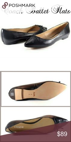 ☆PRICE DROP☆ COACH Lambskin Leather Ballet Flats ♢GIVEN RECENT CCO PRICE DROPS, NO UNREASONABLE OFFERS PLEASE♢ A pointed toe and subtle Coach hardware sharpen a traditional ballet flat with a dressy, modern look. Smooth leather shoe topped with a delicate bow and precise contrast piping is perfect with your favorite pair of jeans or flirty skirt. Material: leather. Coach Shoes Flats & Loafers