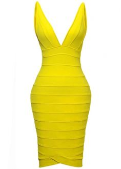 Glamorous V Neck Sleeveless Woman Bandage Dress Yellow with cheap wholesale price, buy Glamorous V Neck Sleeveless Woman Bandage Dress Yellow at wholesaleitonline.com !