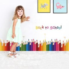 Back to School Colored Pencil Wall Sticker - Removable Wall Decal