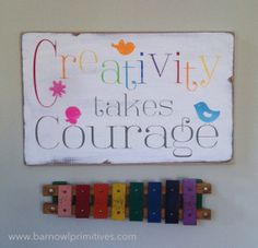 Creativity Takes Courage Hand Painted Typography Word Art by barnowlprimitives