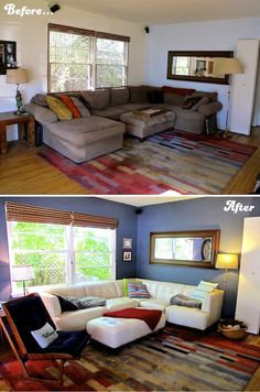 The before and after…our living room hang space