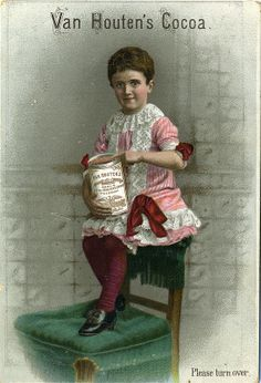 VH1-A-13-1 girl sitting on back of chair holding large tin of  van houten'scocoa