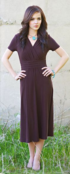 """Michelle"" Pleated Dress in Chocolate Brown via Jen Clothing"