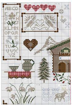 Free cross stitch pattern for Alpine sampler Christmas Cross Stitch Alphabet, Cross Stitch Owl, Cat Cross Stitches, Cross Stitch House, Cross Stitch Kitchen, Just Cross Stitch, Cross Stitch Samplers, Cross Stitch Designs, Cross Stitching