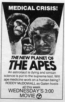 TV Guide ad for Planet of the Apes: The TV Series S01E04: The Good Seeds (First Broadcast: October 4, 1974)